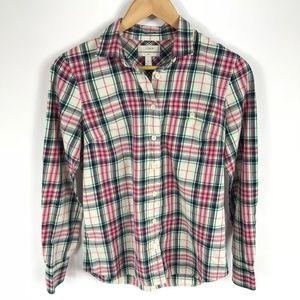 J Crew Womens Boy Shirt in Mint Strawberry Plaid